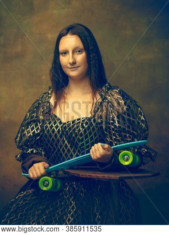Skater Girl. Young Woman As Mona Lisa, La Gioconda Isolated On Dark Green Background. Retro Style, C
