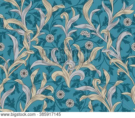 Vintage Floral Seamless Pattern With Leaves On Blue Background. Middle Ages Style William Morris. Ve