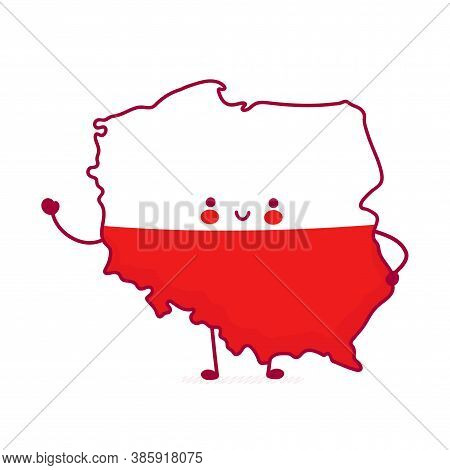 Cute Happy Funny Poland Map And Flag Character. Vector Flat Line Cartoon Kawaii Character Illustrati