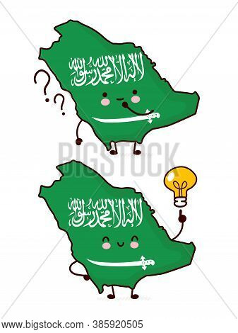 Cute Happy Funny Saudi Arabia Map And Flag Character With Question Mark And Lightbulb. Vector Flat L