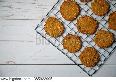 Homemade Delicious Cookies With Whole Grain Arrange On Stainless Griddle By Top View Or Flat Lay