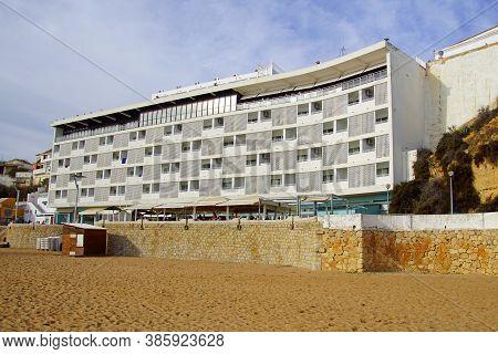 Albufeira, Portugal - December 25, 2019: Hotel Sol A Mar At Albufeira Beach.