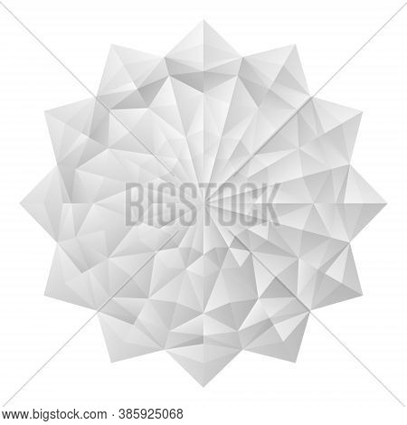 White 3d Geometric Flowers. Arranged In An Origami Mandala Style. Vector Illustration.