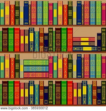 Bookcase With Rows And Stacks Of Books On Shelves. Seamless Repeating Pattern.
