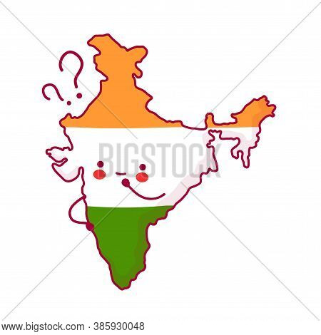 Cute Happy And Sad Funny India Map And Flag Character With Question Marks. Vector Flat Line Cartoon
