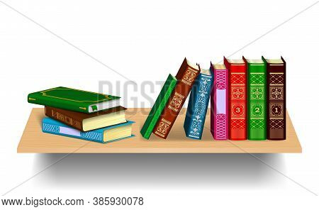 Books On A Wooden Bookshelf. Stack And Row Of Books Isolated On A White Background.