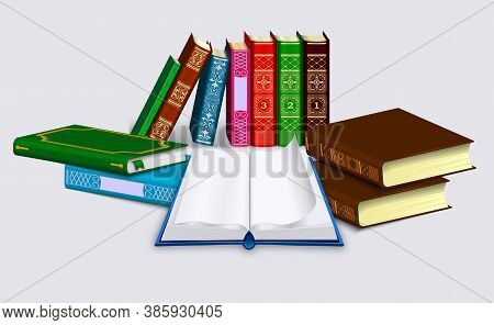 Open Book With Blank Pages And Dump Of Different Books In Rows And Piles. Isolated On A Light Backgr