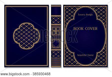 Classical Book Cover And Spine Design. Vintage Ornament Frames. Royal Golden And Dark Blue Style Des