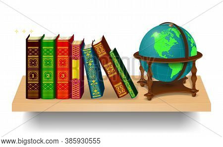 Books And Globe On A Wooden Bookshelf. A Row Of Multi-colored Realistic Books Isolated On A White Ba