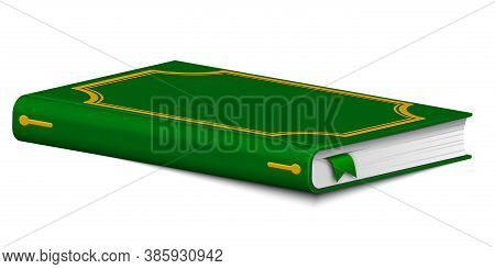 Book With A Bookmark. Hardcover Diary Or Sketchpad Isolated On A White Background. Single Object.