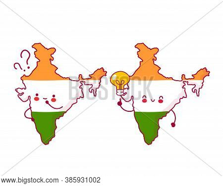 Cute Happy And Sad Funny India Map And Flag Character With Question Mark And Idea Light Bulb. Vector