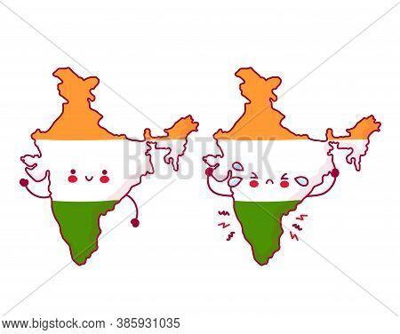 Cute Happy And Sad Funny India Map And Flag Character. Vector Flat Line Cartoon Kawaii Character Ill