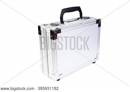 Steel Suitcase On White Background, Isolated Object