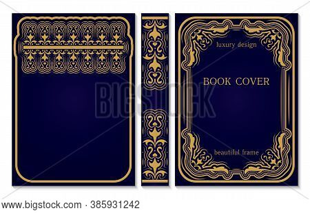 Book Cover And Spine Design. Old Retro Frames Pattern With Swirls. Royal Golden And Dark Blue Style