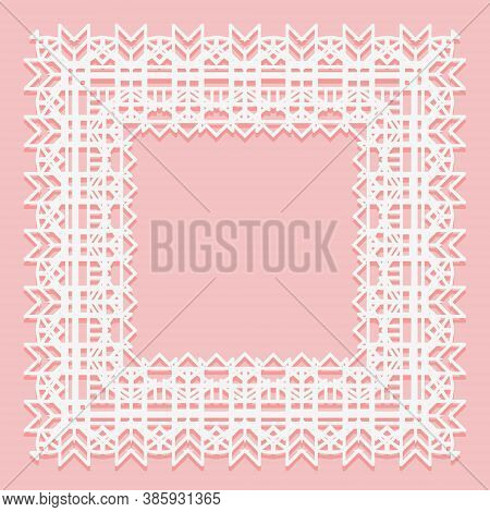 White Lace Frame Of Square Shapes. Openwork Edges Of The Napkin Isolated On A Pink Background.