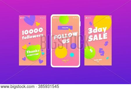 Follow Us Social Media Stories Templates Set. Like Time, 10k Followers Congratulation Social Network