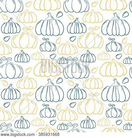 Handdrawn Pumpkin Vector Seamless Pattern. Blue And Orange Squash On White Background. Regular Clear