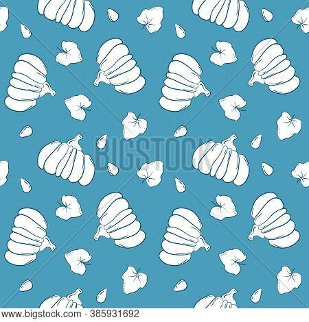 Handdrawn Pumpkin Vector Seamless Pattern. White Squash On Blue Background. Sparse Print With Pumpki