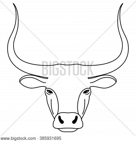 Head Of Bull. Contour Simple Longhorned Buffalo Or Bison, Symbol Of New New Year 2021. Black And Whi