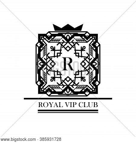 Vintage Logo Or Monogram In Art Deco. Retro Style Frame And Label Design. Black And White Monochrome