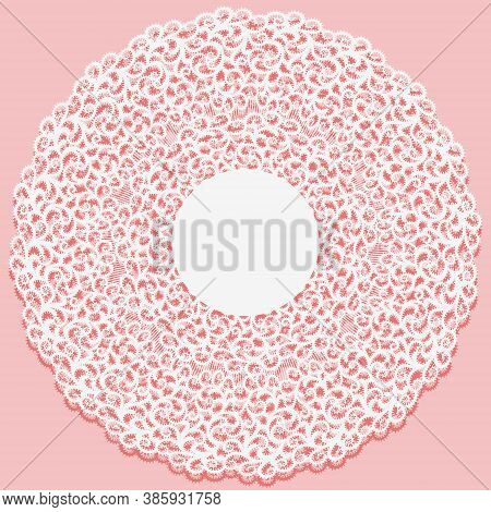 Openwork Napkin. Lace Frame Round Doily Element On Pink Background. White Monochrome Ornament From C