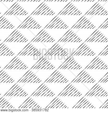 Seamless Pattern Of Triangles From Lines. Black Lines On A White Background.
