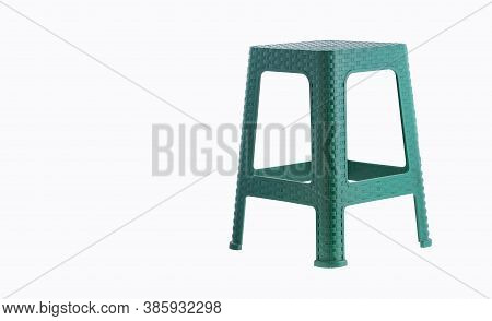 Green Plastic Stool Isolated On White Background