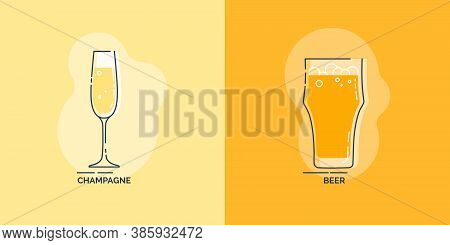 Wineglass Champagne And Glass Beer Line Art In Flat Style. Restaurant Alcoholic Illustration For Cel