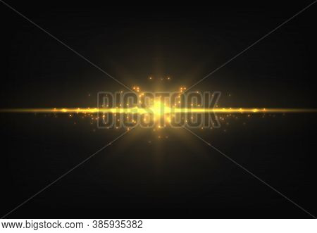 Shiny Golden Neon Line. Magic Gold Glowing Light Effect. Luminous Trail. Vector Yellow Shimmer Ray O