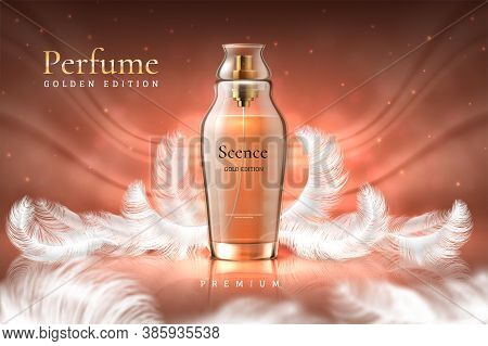 Perfume Background. Luxury Cosmetic Product Ad, Glass Fragrance Bottle Mockup. Vector Aroma Water Ad
