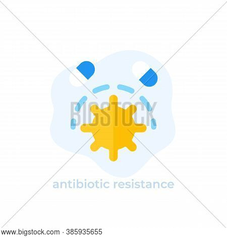 Antibiotic Resistance Icon, Flat Vector, Eps 10 File, Easy To Edit