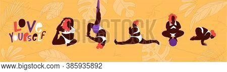 Plus Size Young Women Doing Fitness, Yoga, Forward Split. Body Love Lifestyle Healthcare Illustratio
