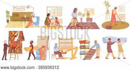 Flat Icons Set With Carpets In Interior Shops And Their Production Isolated On White Background Vect