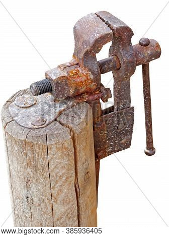Old Rusty Vise On A White Background