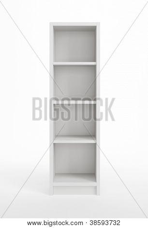 modern white bookcase, 3d render