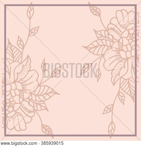 Layout For Decorating A Feed On Instagram. Background In Pastel Colors With Flowers. Frame For Text.