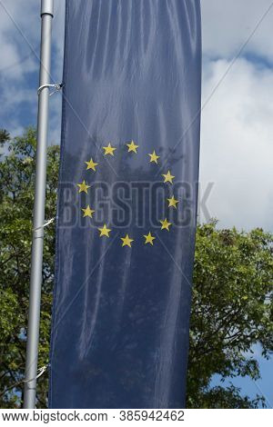European Union Flag, Blue Flag With Yellow Stars