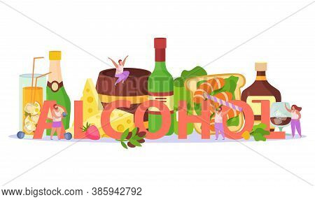 Alcoholic Cocktails Drinks Party Aperitif Snacks Appetizers Title Header Flat Composition With Chees