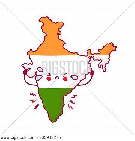 Cute Sad Funny India Map And Flag Character. Vector Flat Line Cartoon Kawaii Character Illustration