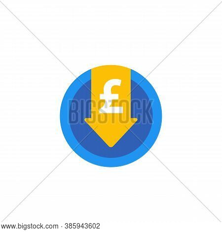 Reduce Costs Icon With Pound, Flat, Eps 10 File, Easy To Edit