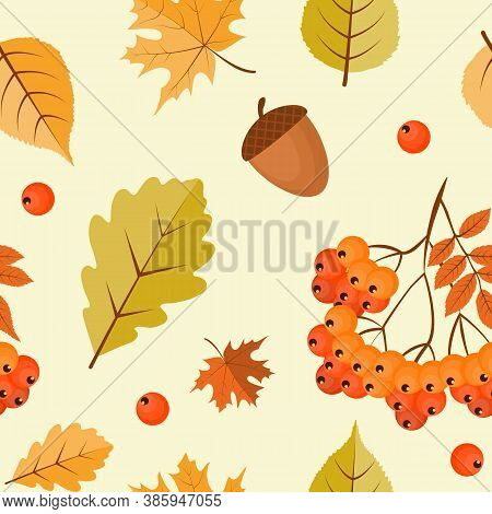 Abstract Autumn Seamless Pattern  Background With Falling Leaves, Rowan And Acorn. Vector Illustrati