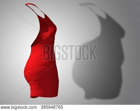 Conceptual fat overweight obese shadow female dress outfit vs slim fit healthy body after weight loss or diet thin young woman on gray. A fitness, nutrition or obesity health shape 3D illustration