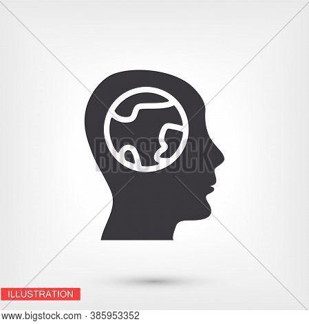 Earth Head Icon. Vector Flat Design Earth Head Icon. Earth Head For Your Use In Your And Your Goals
