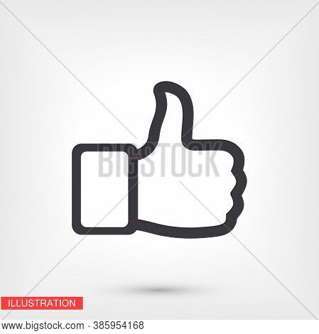 Like. Thumbs Up. Like Icon. Vector Like Style. Hand Thumbs Up. Excerpt. Flat Design. The Work Is Don