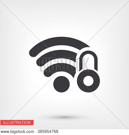 Wi-fi Security, Wi-fi Icon Is Locked. Wi-fi Under The Lock. The Best Job. For Your Wi-fi Site. Flat