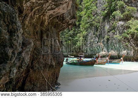 September 13,2020 Longtail Boats On Beach Beautiful Phi Phi Island In Krabi Province Thailand Amazin