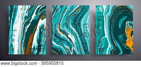 Abstract Acrylic Poster, Fluid Art Vector Texture Set. Beautiful Background That Applicable For Desi