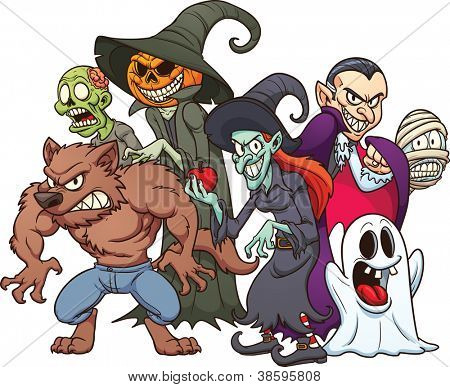 Halloween monsters. Cartoon vector illustration with simple gradients. All in a single layer.