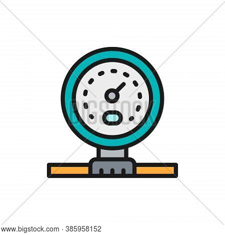 Gas Pipeline Or Water Meter Flat Color Line Icon.