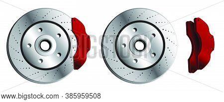 Car Brake Disc With Red Brake Pads. Brake Pads, Car Parts. Maintenance In Workshop. Vector In Realis